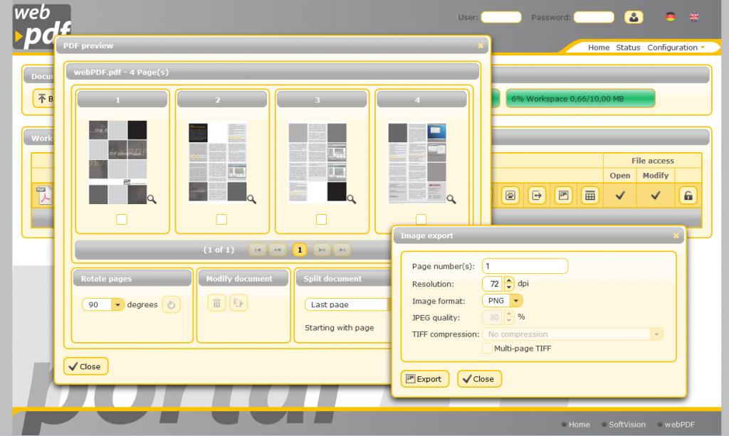Das PDF-Portal von webPDF im Browser
