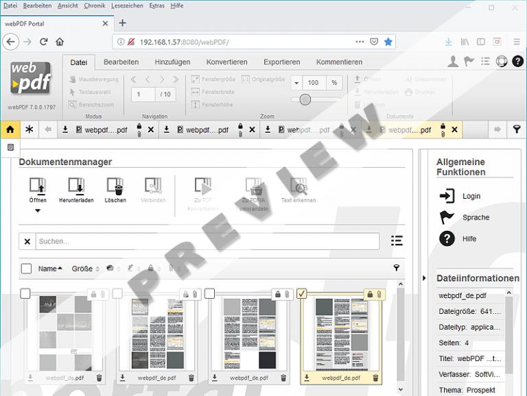 Screenshot vom neuen Portal