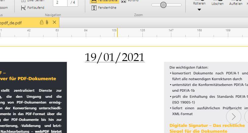 Datum in Kopfzeile einfügen