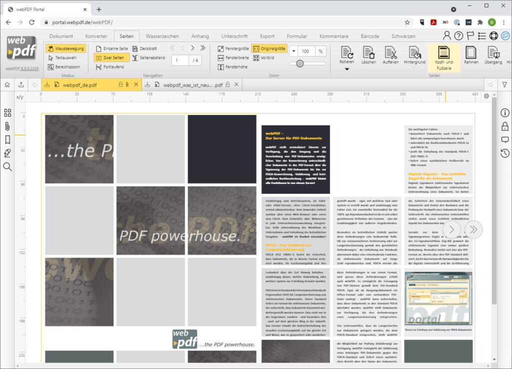 PDF Seitenmanagement im Webportal